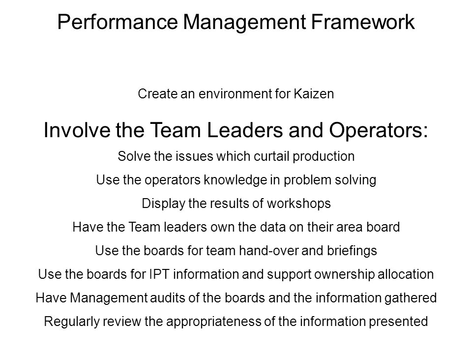 Performance Management Framework