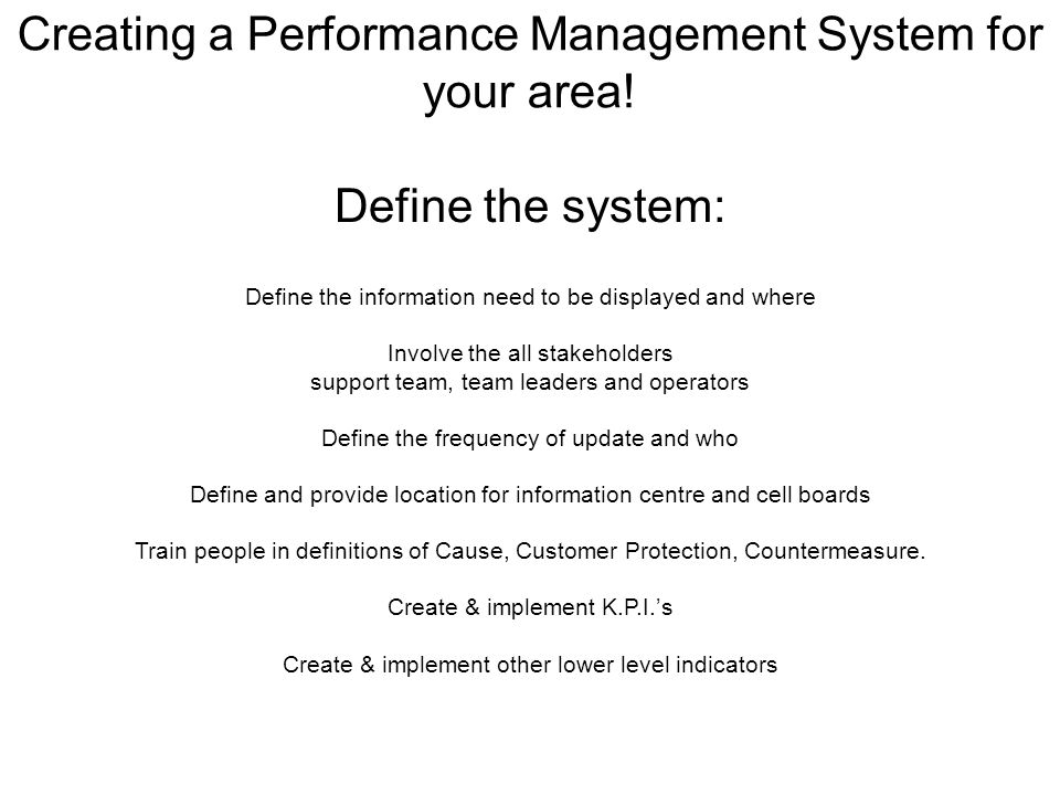 Creating a Performance Management System for your area!
