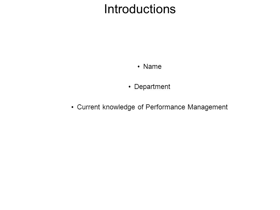 Current knowledge of Performance Management