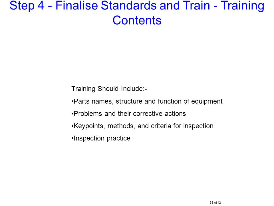 Step 4 - Finalise Standards and Train - Training Contents