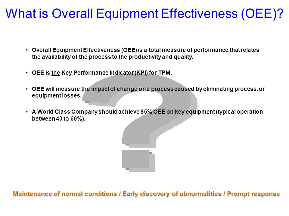 What is Overall Equipment Effectiveness (OEE)
