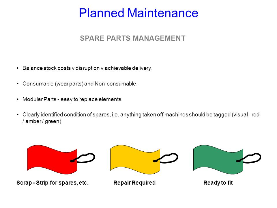 SPARE PARTS MANAGEMENT Scrap - Strip for spares, etc.