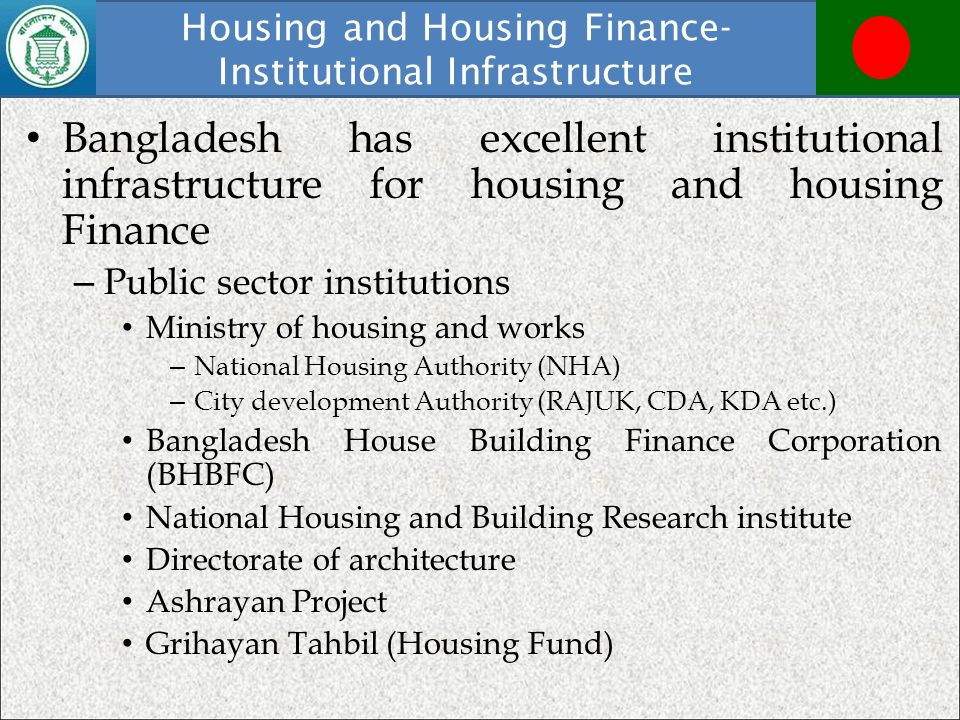 Housing and Housing Finance- Institutional Infrastructure