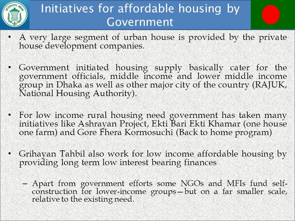 Initiatives for affordable housing by Government