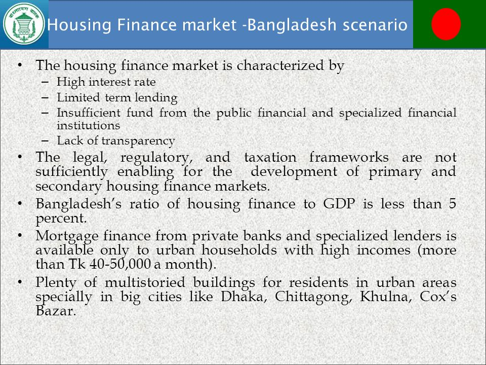 Housing Finance market -Bangladesh scenario