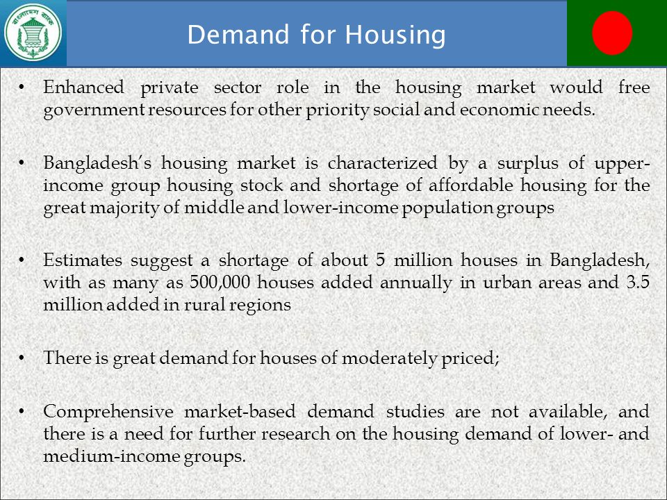 Demand for Housing Enhanced private sector role in the housing market would free government resources for other priority social and economic needs.