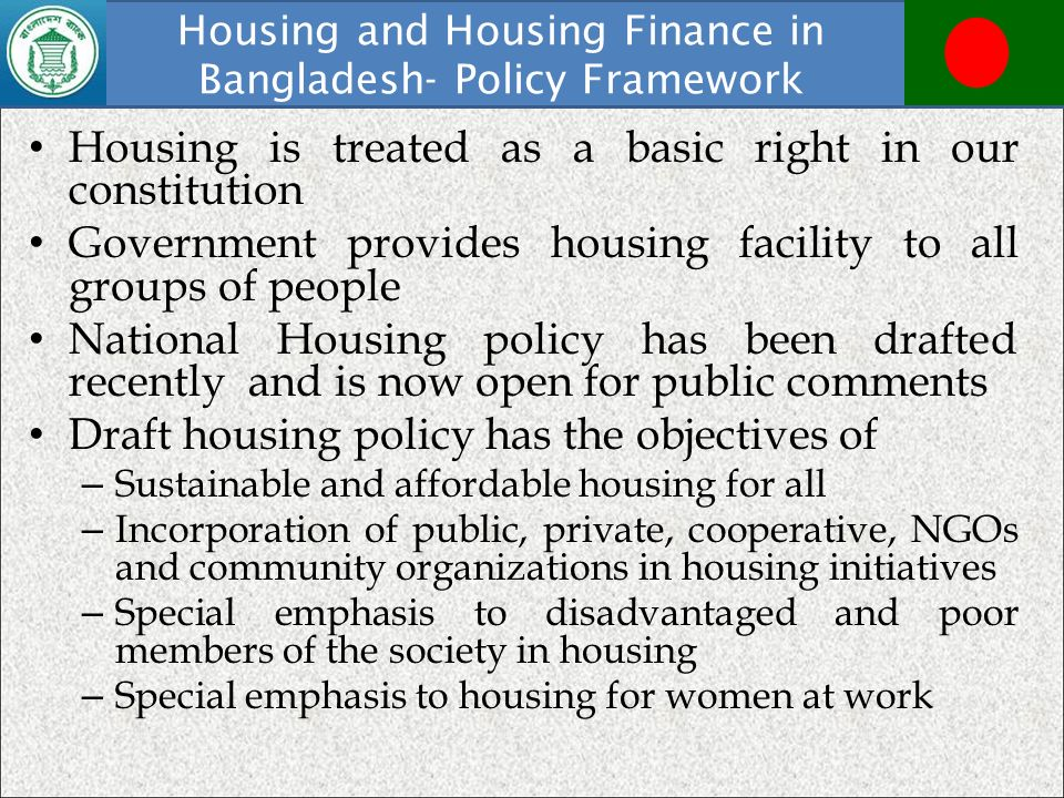 Housing and Housing Finance in Bangladesh- Policy Framework