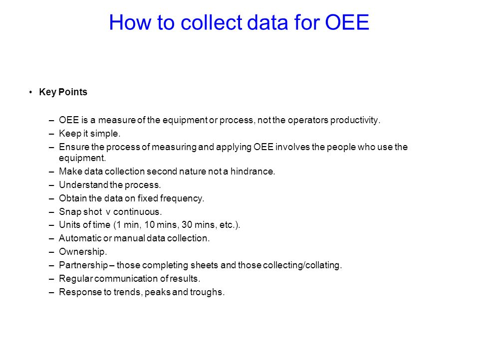 How to collect data for OEE