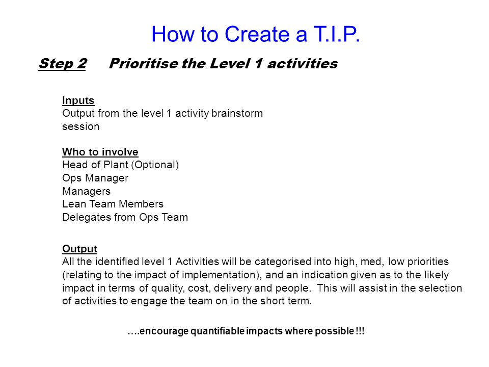 How to Create a T.I.P. Step 2 Prioritise the Level 1 activities Inputs
