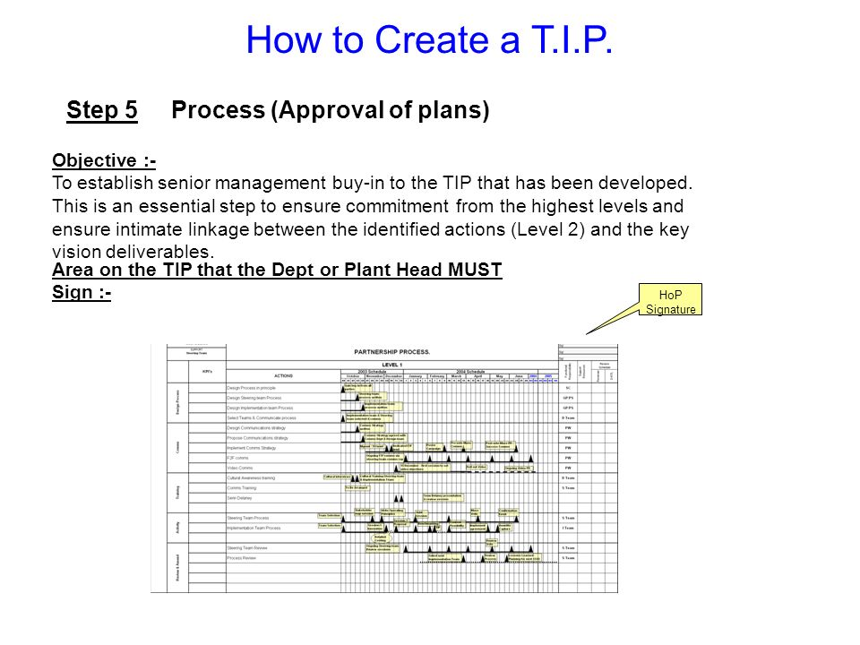 How to Create a T.I.P. Step 5 Process (Approval of plans) Objective :-