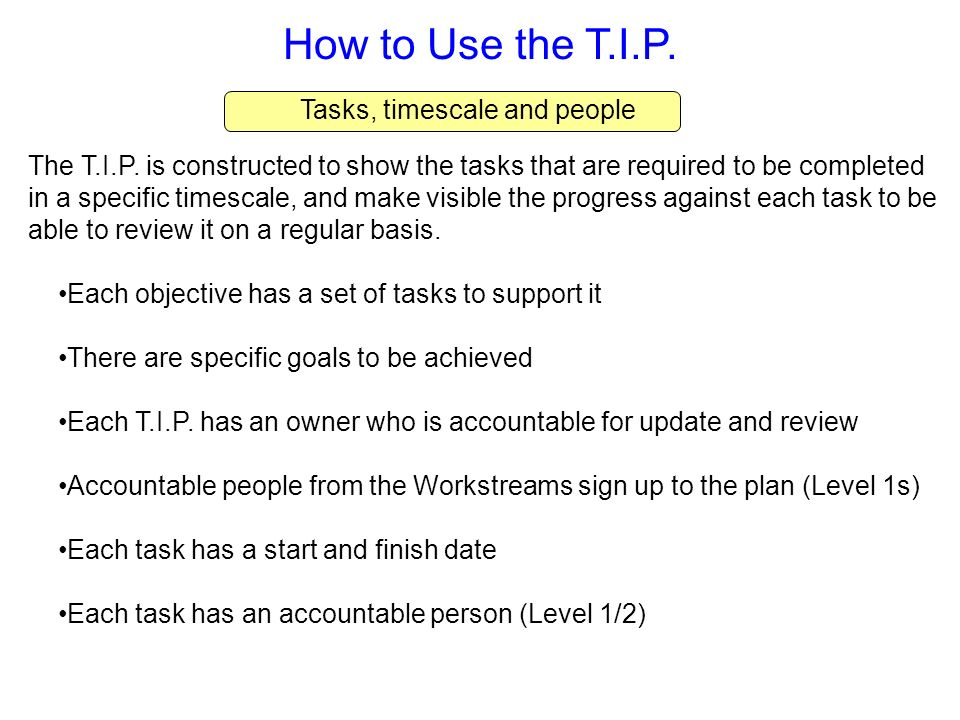 How to Use the T.I.P. Tasks, timescale and people