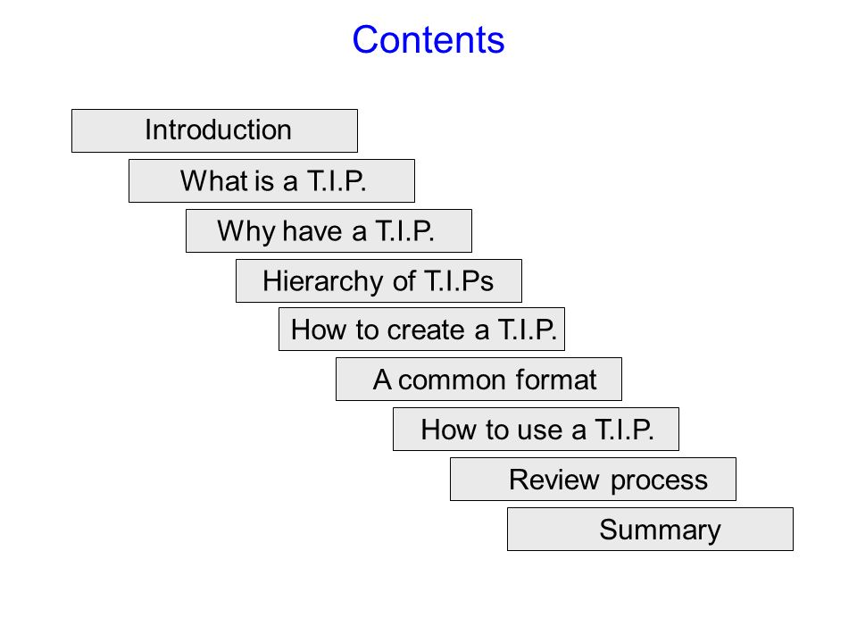 Contents Introduction What is a T.I.P. Why have a T.I.P.