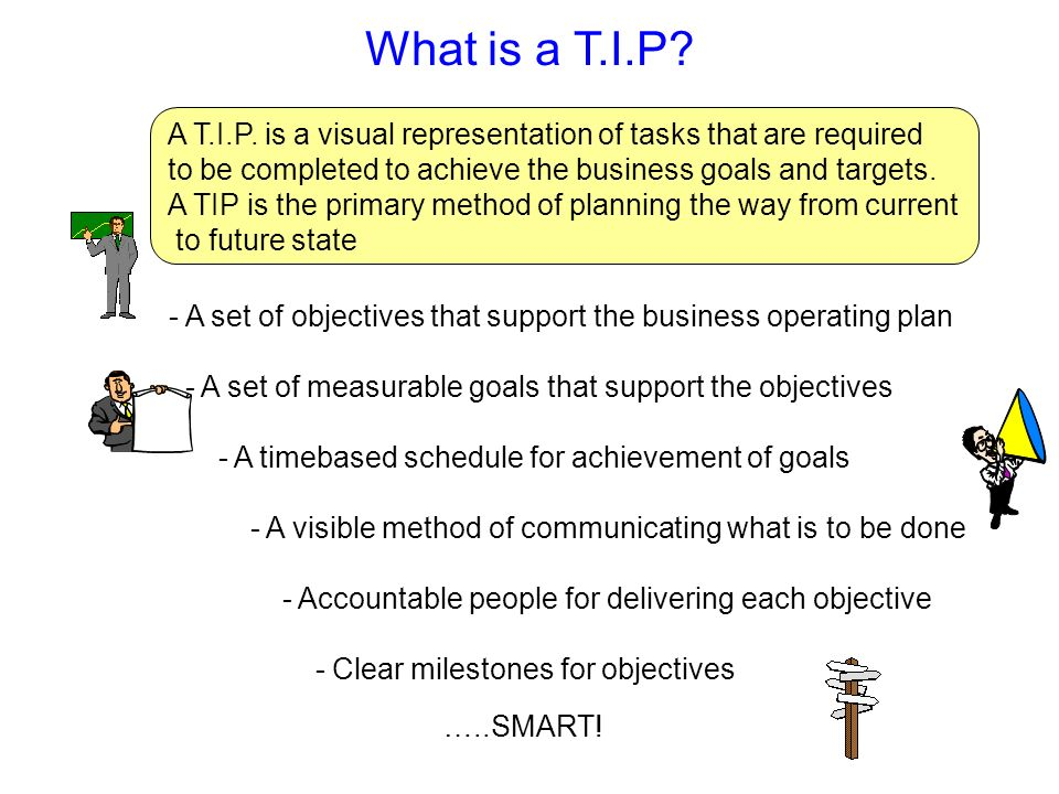What is a T.I.P A T.I.P. is a visual representation of tasks that are required. to be completed to achieve the business goals and targets.
