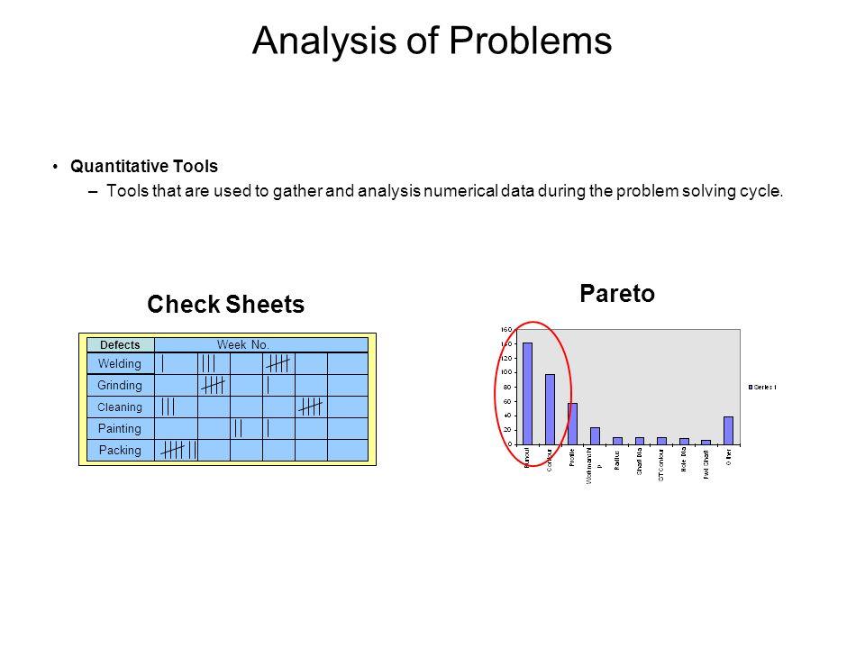 Analysis of Problems Pareto Check Sheets Quantitative Tools