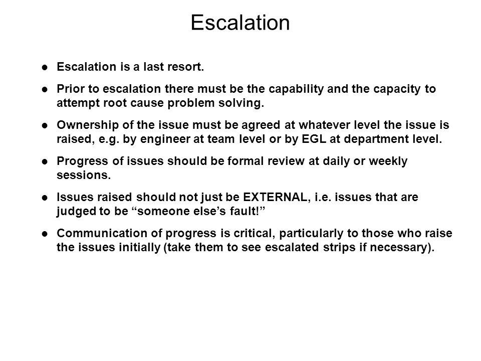 Escalation Escalation is a last resort.