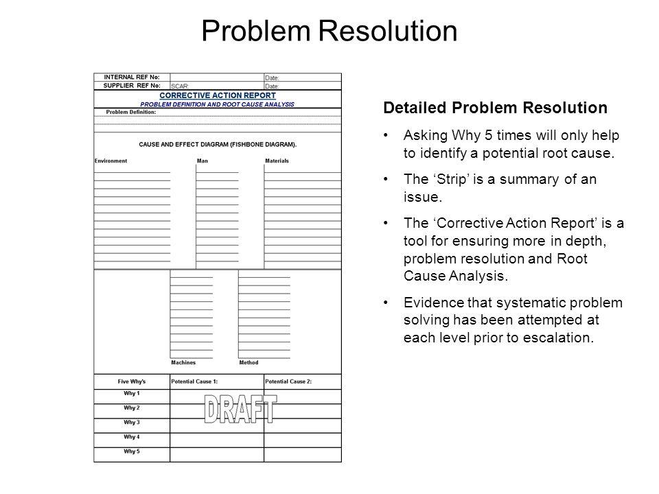 Problem Resolution Detailed Problem Resolution