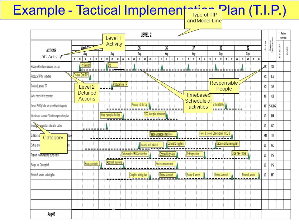 Example - Tactical Implementation Plan (T.I.P.)