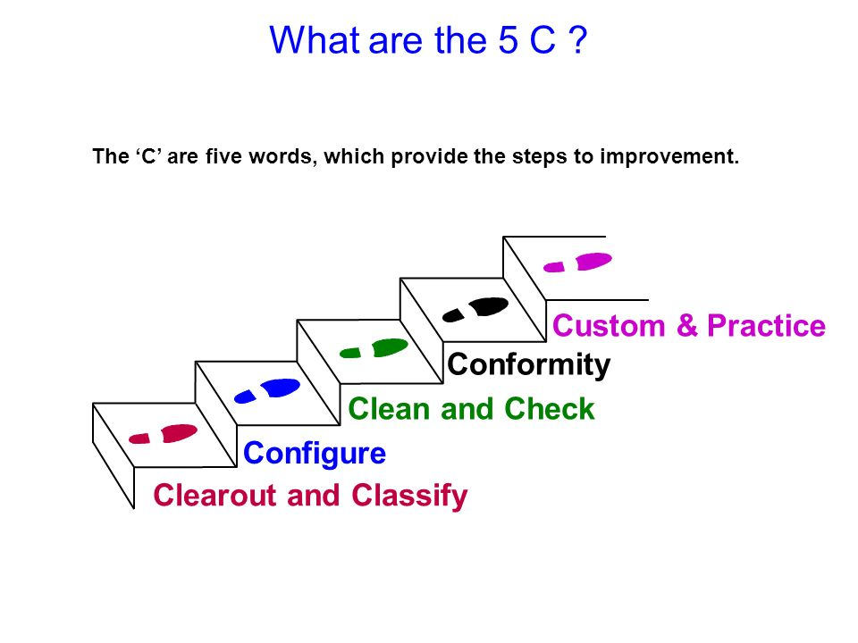 What are the 5 C Custom & Practice Conformity Clean and Check