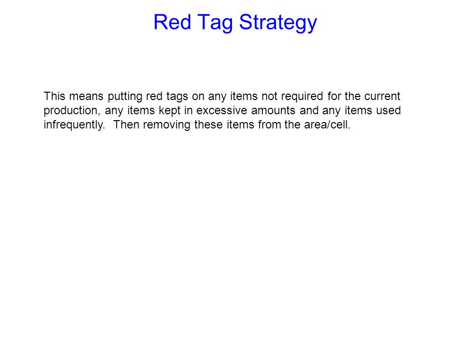 Red Tag Strategy