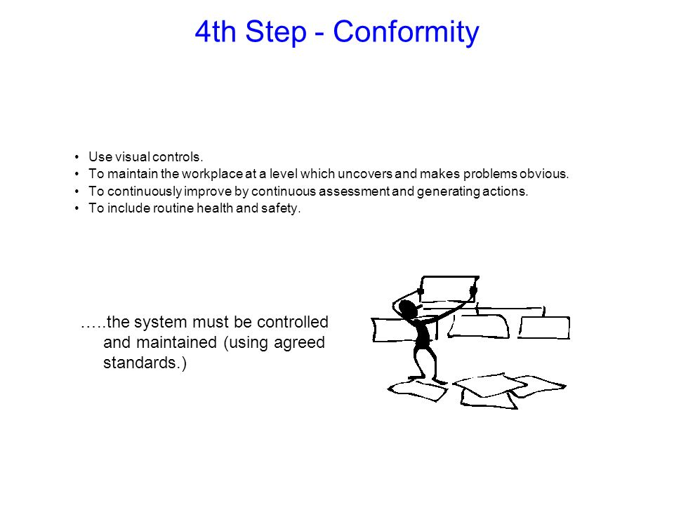 4th Step - Conformity …..the system must be controlled