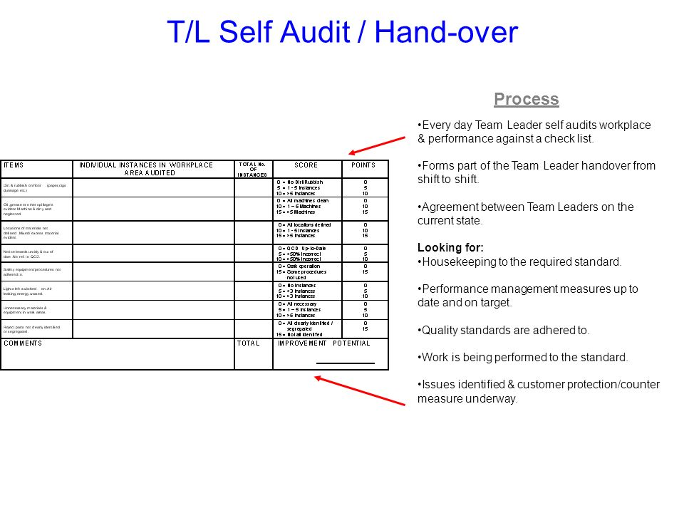 T/L Self Audit / Hand-over
