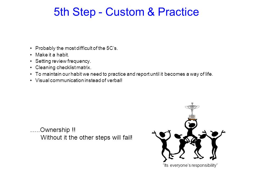 5th Step - Custom & Practice