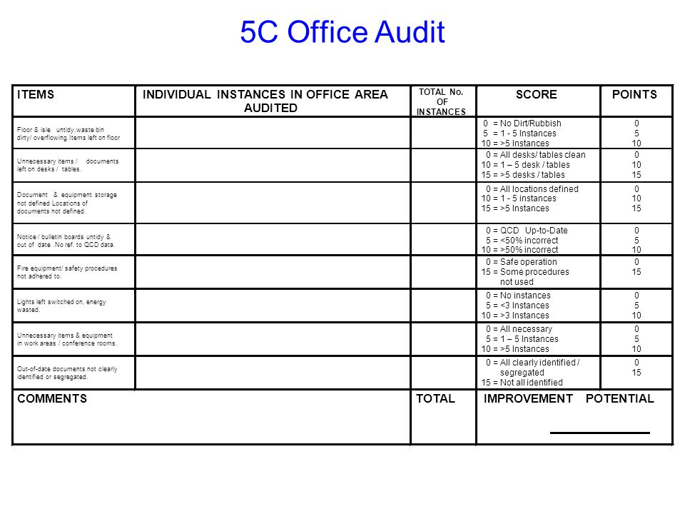 5C Office Audit ITEMS INDIVIDUAL INSTANCES IN OFFICE AREA AUDITED