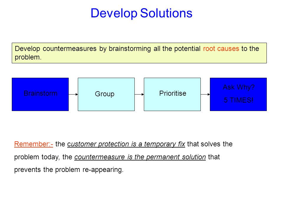 Develop Solutions Develop countermeasures by brainstorming all the potential root causes to the problem.