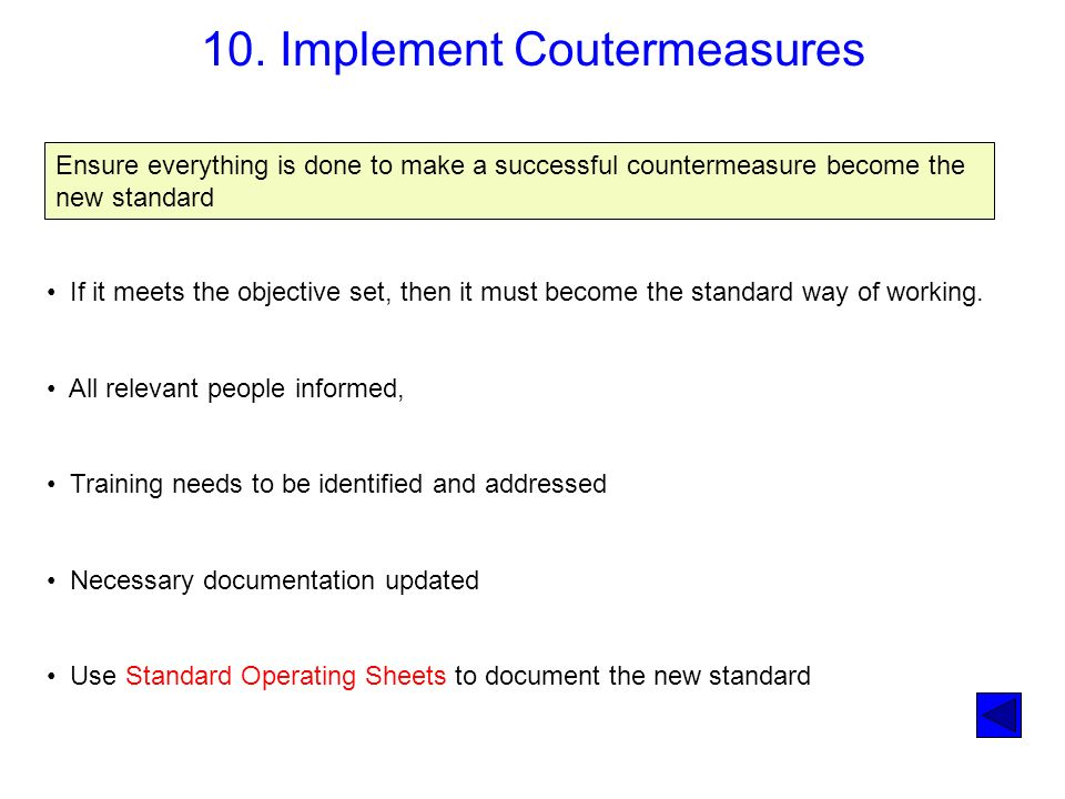 10. Implement Coutermeasures