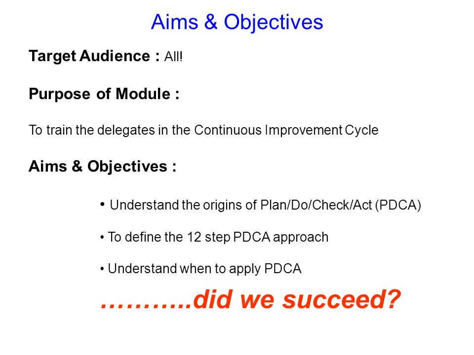 ………..did we succeed Aims & Objectives Target Audience : All!