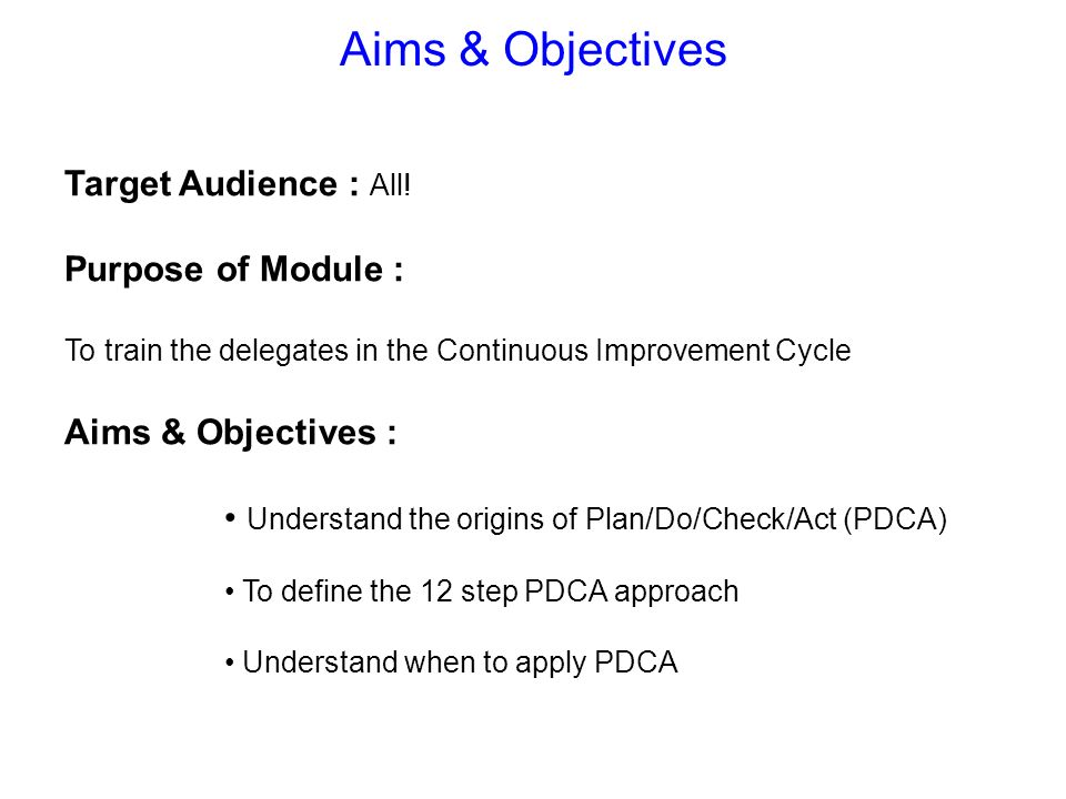 Aims & Objectives Target Audience : All! Purpose of Module :