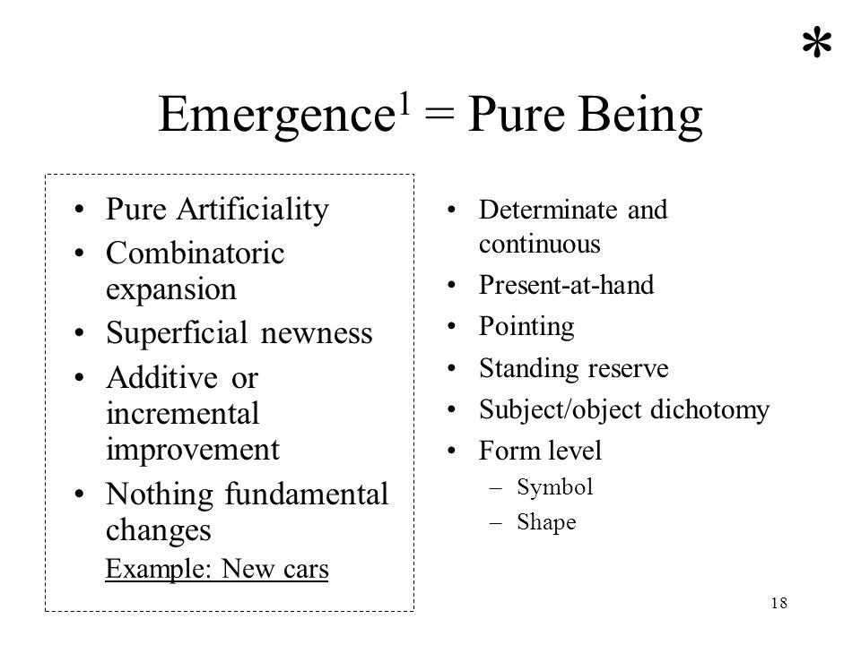 * Emergence1 = Pure Being Pure Artificiality Combinatoric expansion