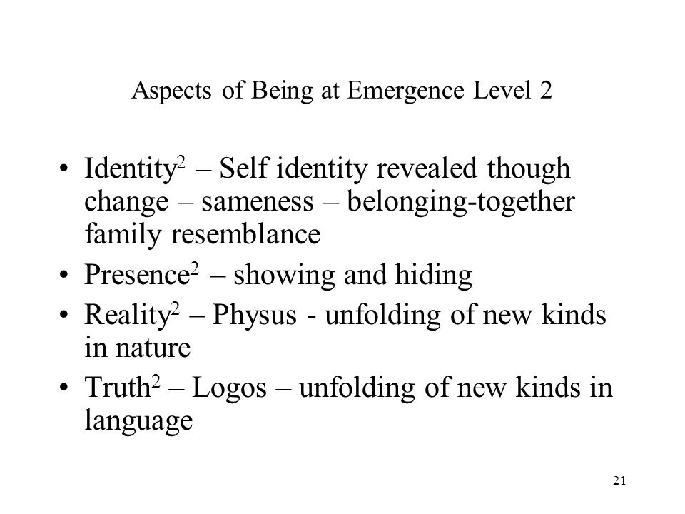 Aspects of Being at Emergence Level 2