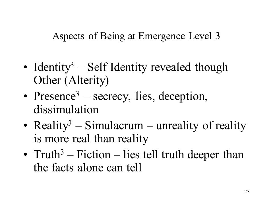 Aspects of Being at Emergence Level 3