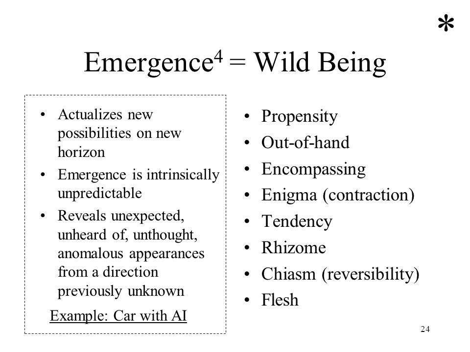 * Emergence4 = Wild Being Propensity Out-of-hand Encompassing