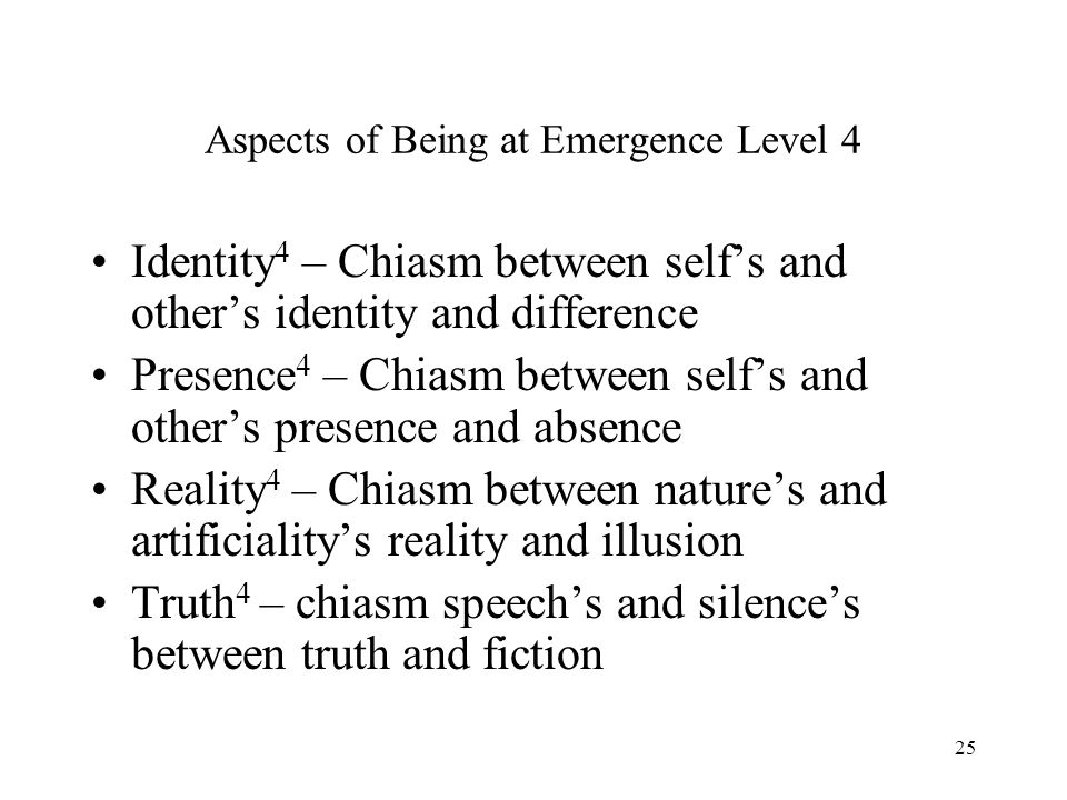 Aspects of Being at Emergence Level 4