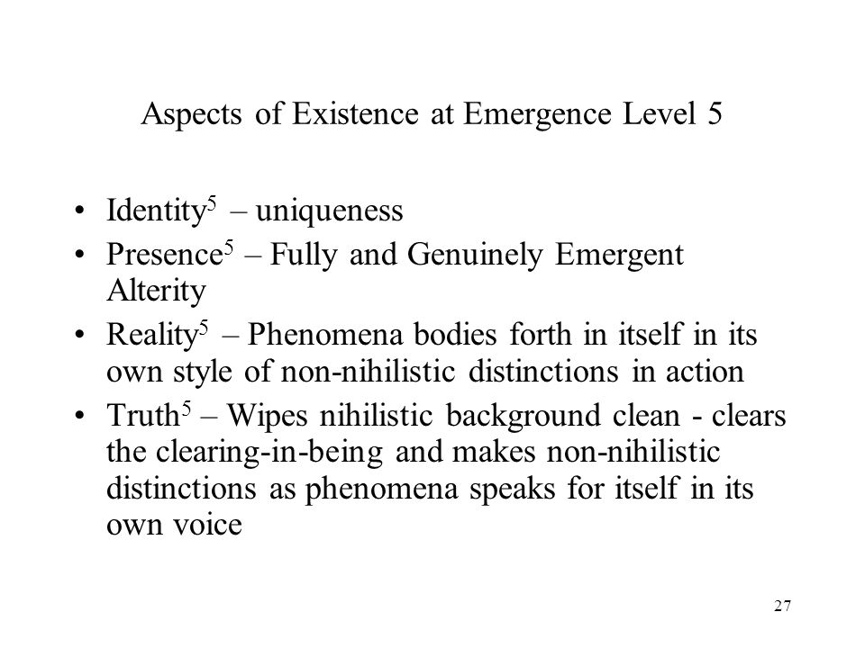 Aspects of Existence at Emergence Level 5