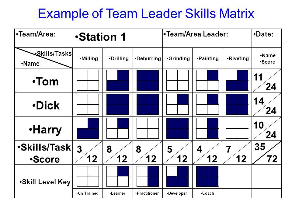 Example of Team Leader Skills Matrix