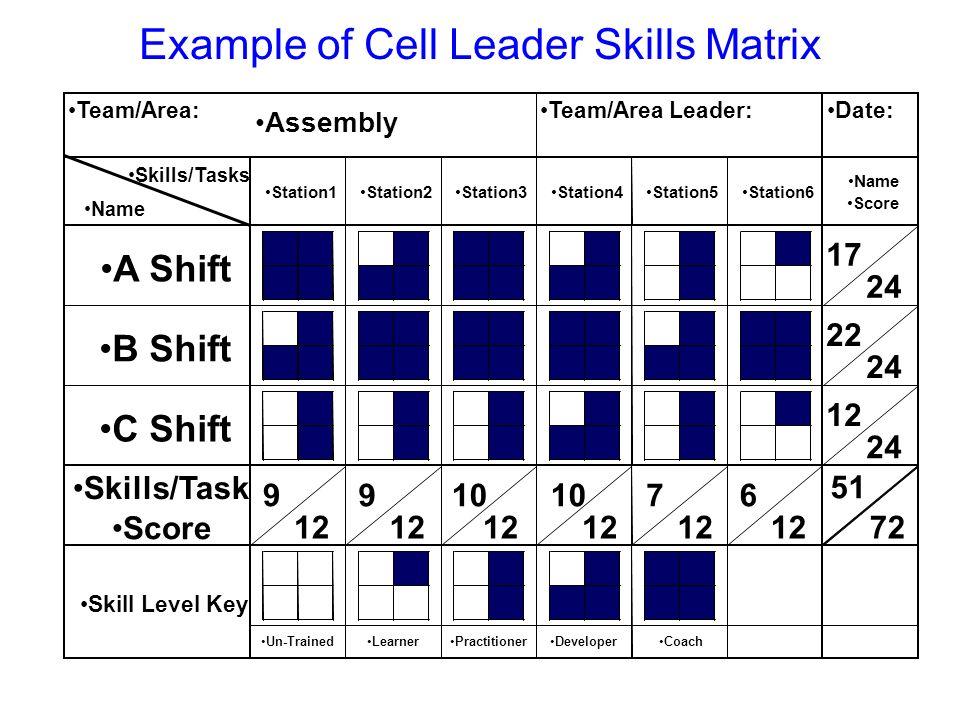 Example of Cell Leader Skills Matrix