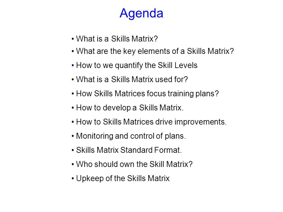Agenda What is a Skills Matrix