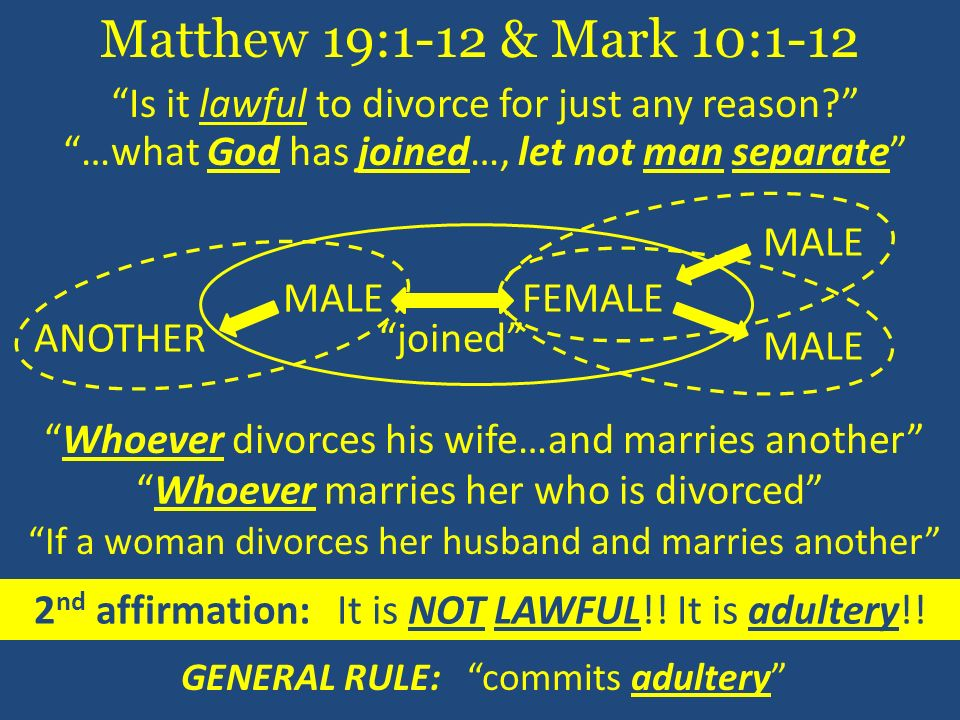 Matthew 19:1-12 & Mark 10:1-12 Is it lawful to divorce for just any reason …what God has joined…, let not man separate