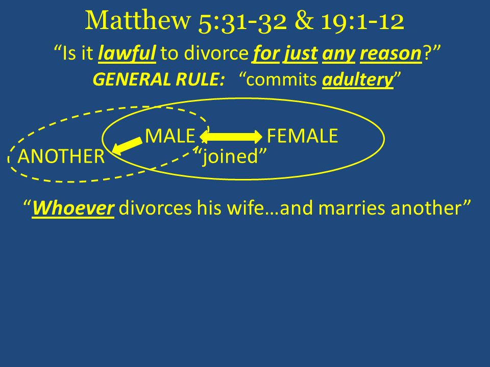 Matthew 5:31-32 & 19:1-12 Is it lawful to divorce for just any reason GENERAL RULE: commits adultery