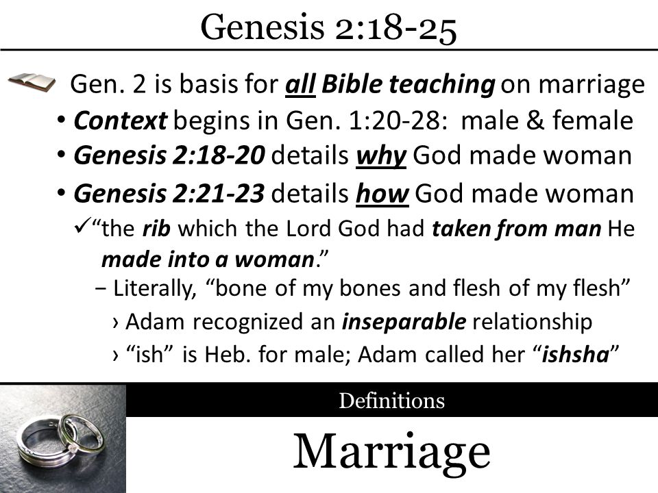 Genesis 2:18-25 Gen. 2 is basis for all Bible teaching on marriage. Context begins in Gen. 1:20-28: male & female.