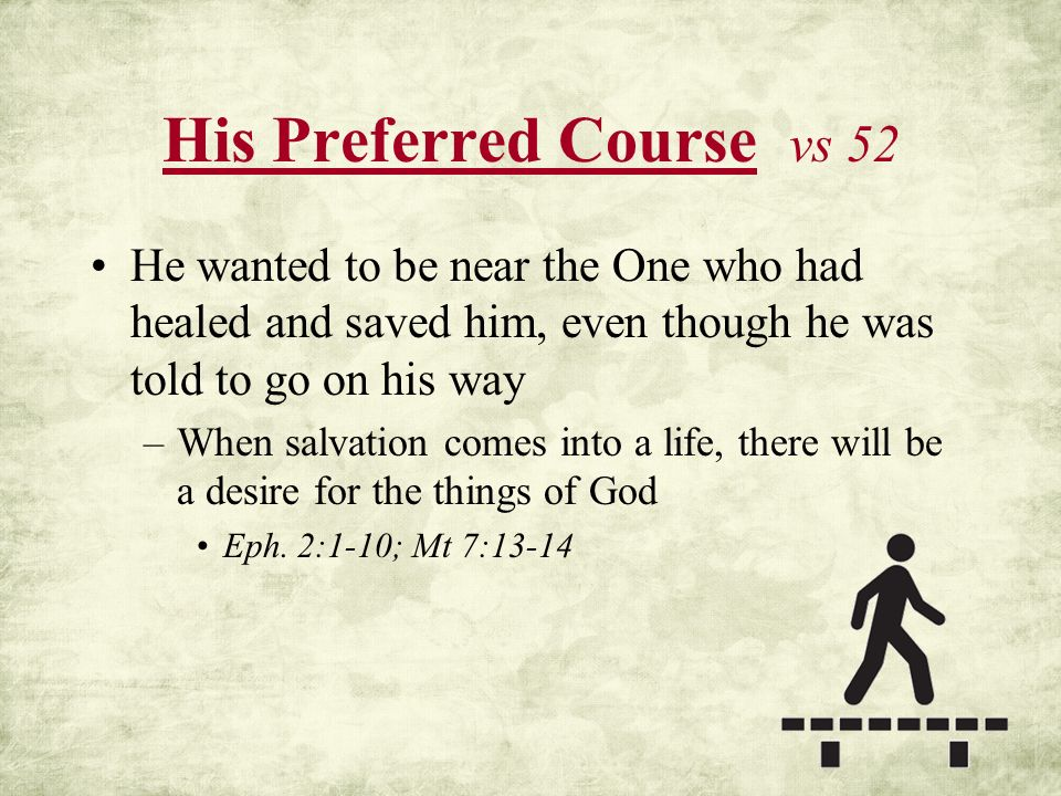 His Preferred Course vs 52