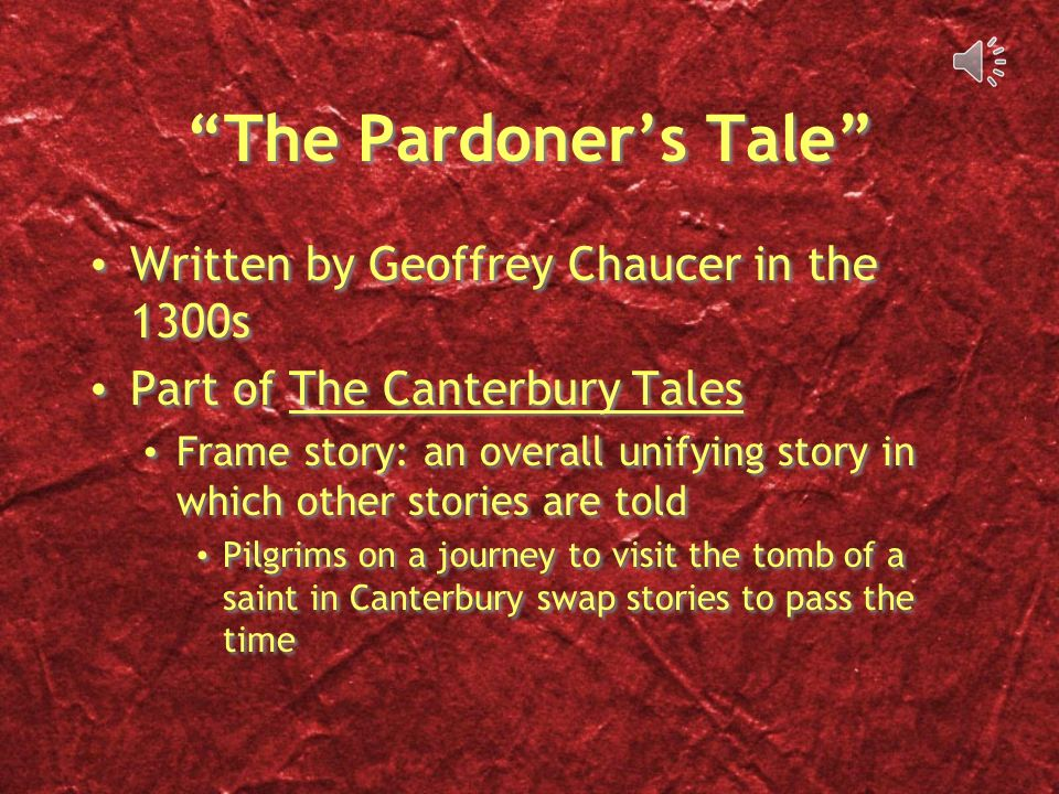 the evil pardoner in the canterbury Context of chaucer's the pardoner's tale as a gothic text for a2 aqa  chaucer began writing the canterbury tales  who is evil for not allowing the old.
