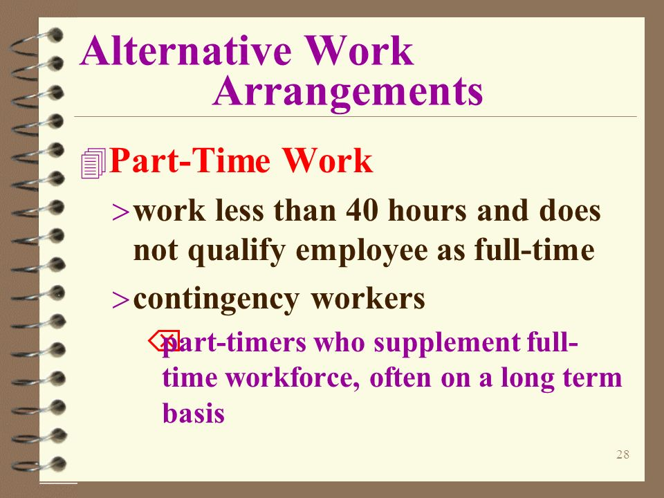alternative work arrangements paper Flexible work arrangements give your employees more power over when and where they work learn about the types of arrangements you can offer your workers.