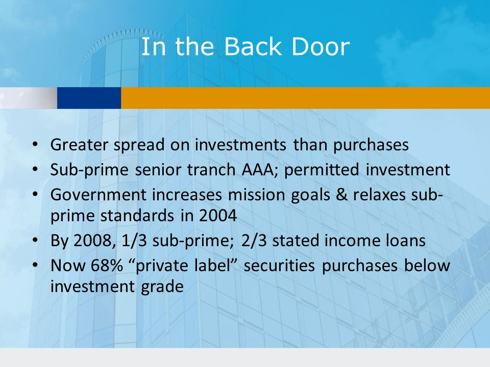 In the Back Door Greater spread on investments than purchases