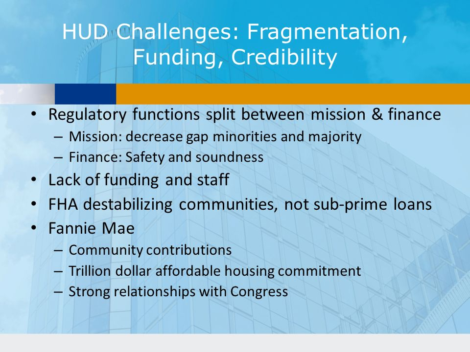 HUD Challenges: Fragmentation, Funding, Credibility