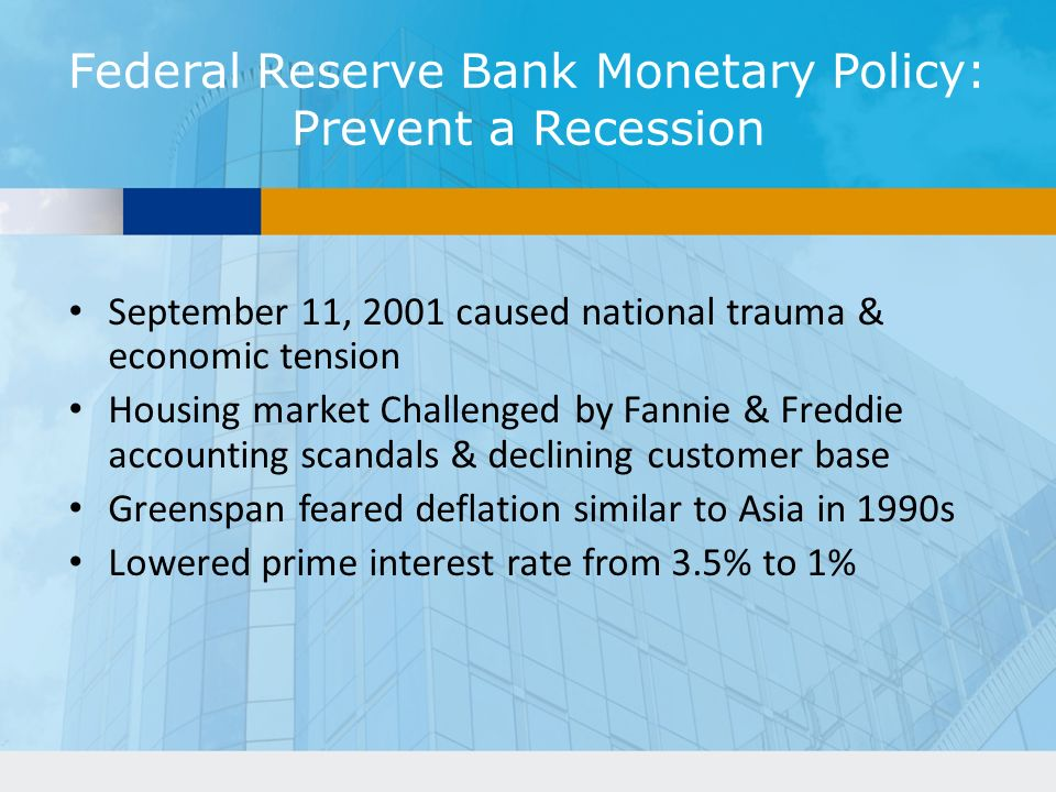 Federal Reserve Bank Monetary Policy: Prevent a Recession