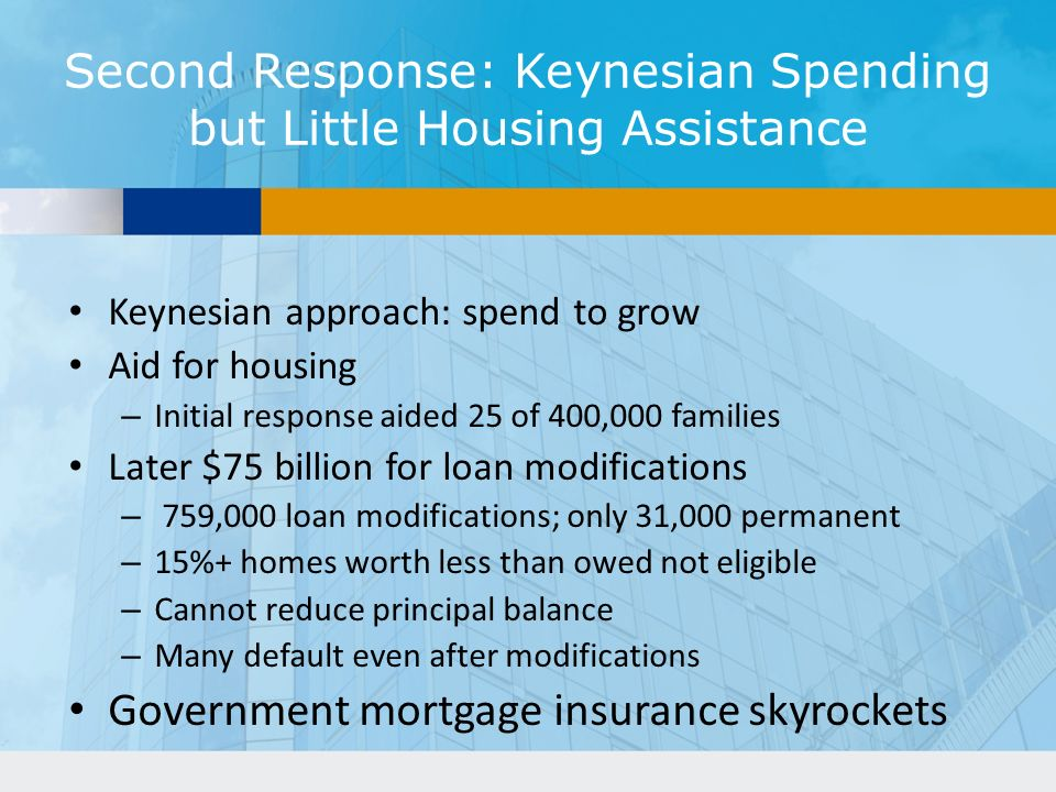 Second Response: Keynesian Spending but Little Housing Assistance
